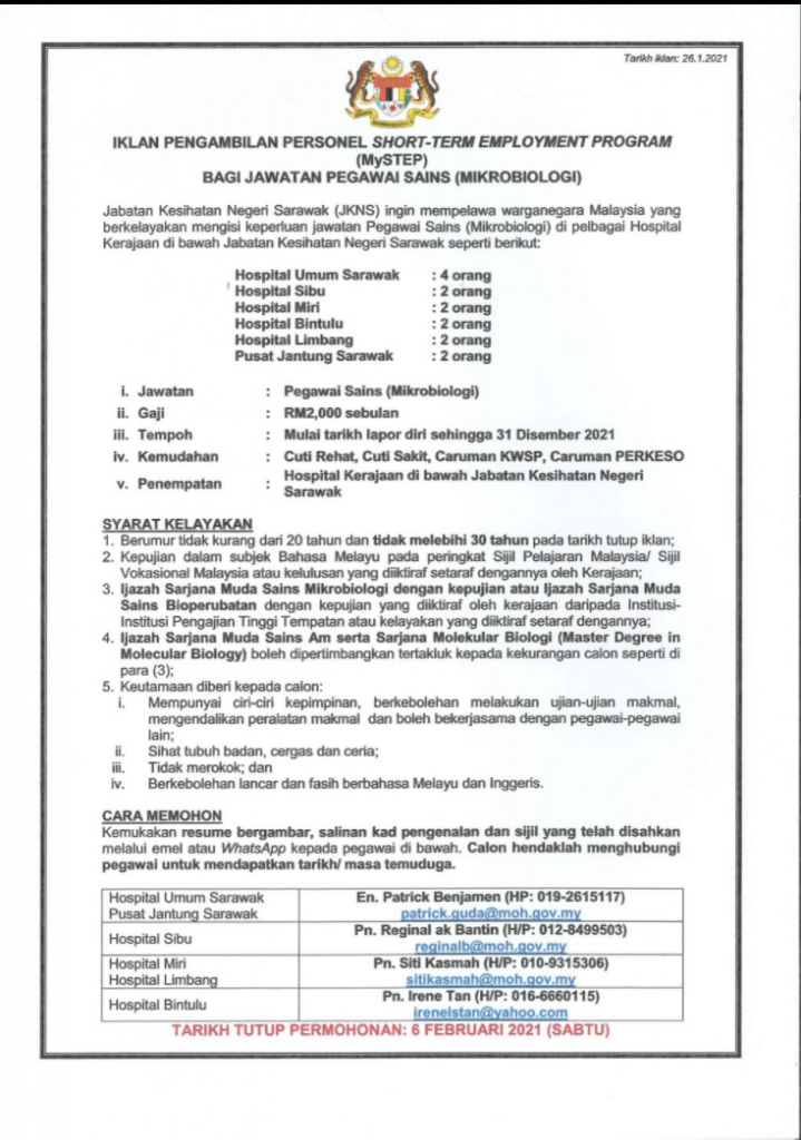 Iklan Jawatan Jabatan Kesihatan Negeri Sarawak (JKNS ...